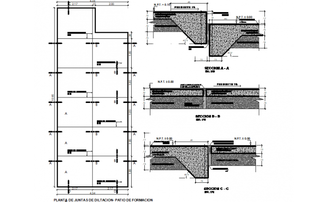 plan and section cut of training plant