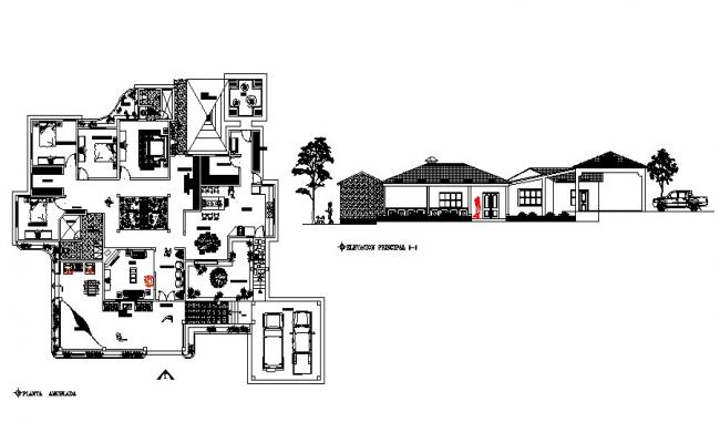 plan of the bungalow with elevation in AutoCAD