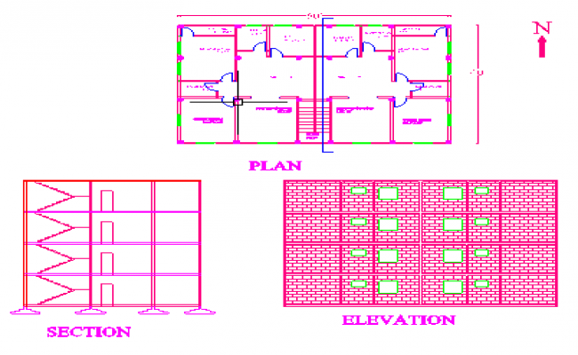 plan section and elevation of a building