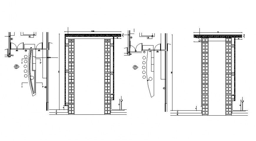 Plan and drawings details of door block 2d view in autocad