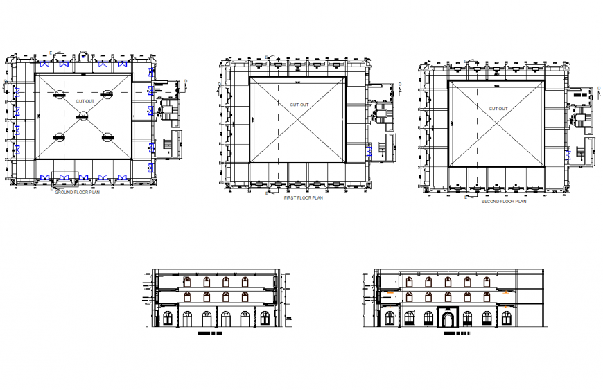 Plan and elevation arches design