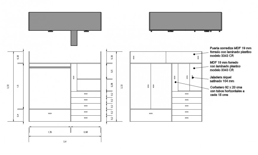 Plan and elevation cub board layout file