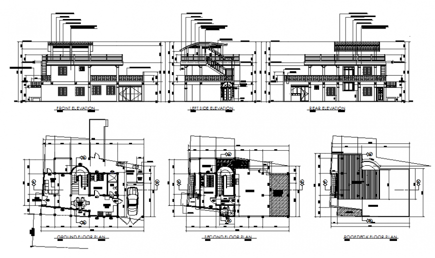 Plan and elevation detail 2 BHK house planning dwg file