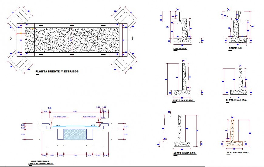 Plan and elevation detail of bridge structure 2d view CAD construction block layout dwg file
