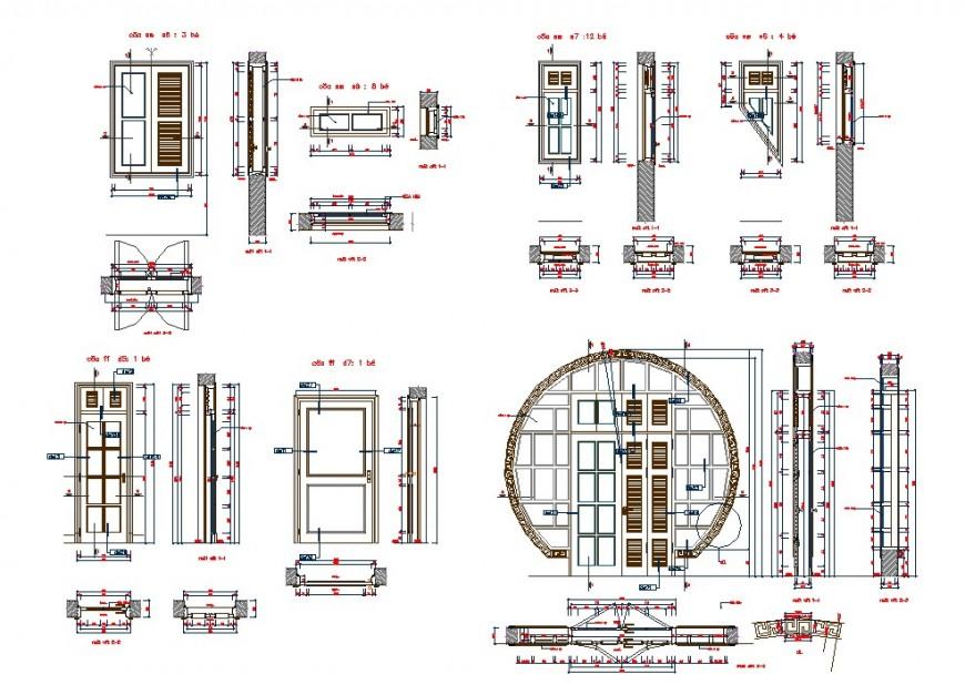 Plan and elevation detail of door dwg file