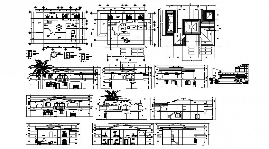 Plan and elevation different axis view of hotel in AutoCAD