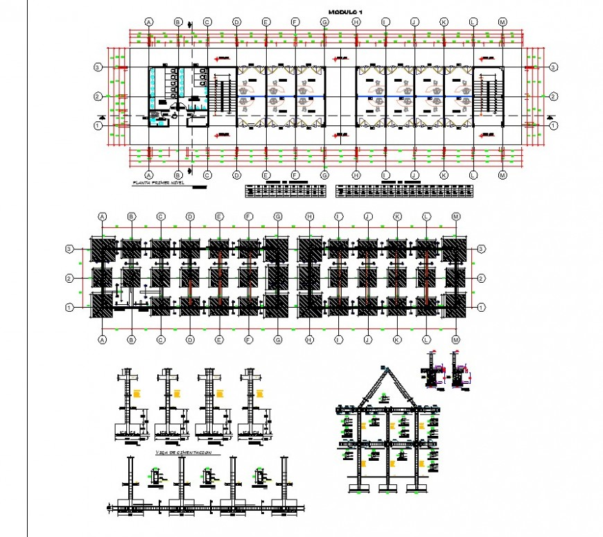 Plan and elevation guest house layout file