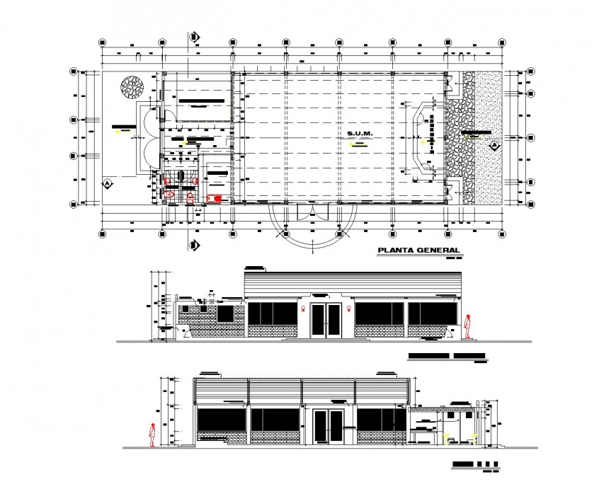 Plan and elevation hall planning autocad file