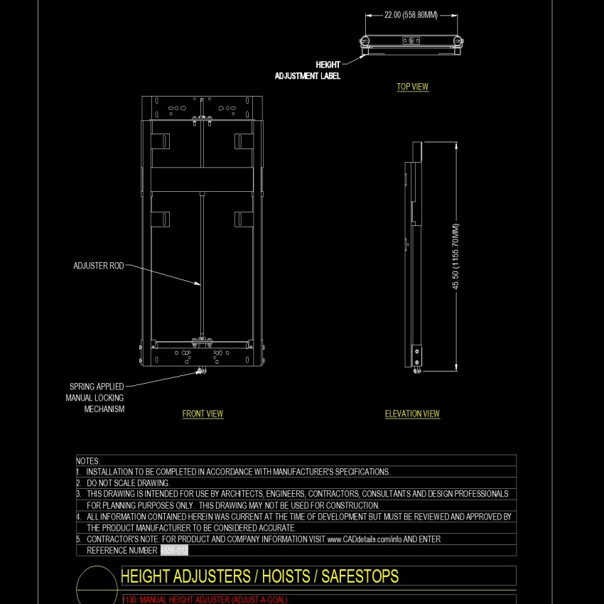 Plan and elevation Height adjusters, hoists and safestops layout file