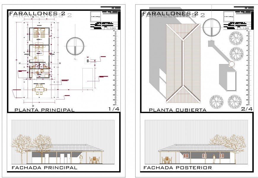 Plan and elevation house detail dwg file