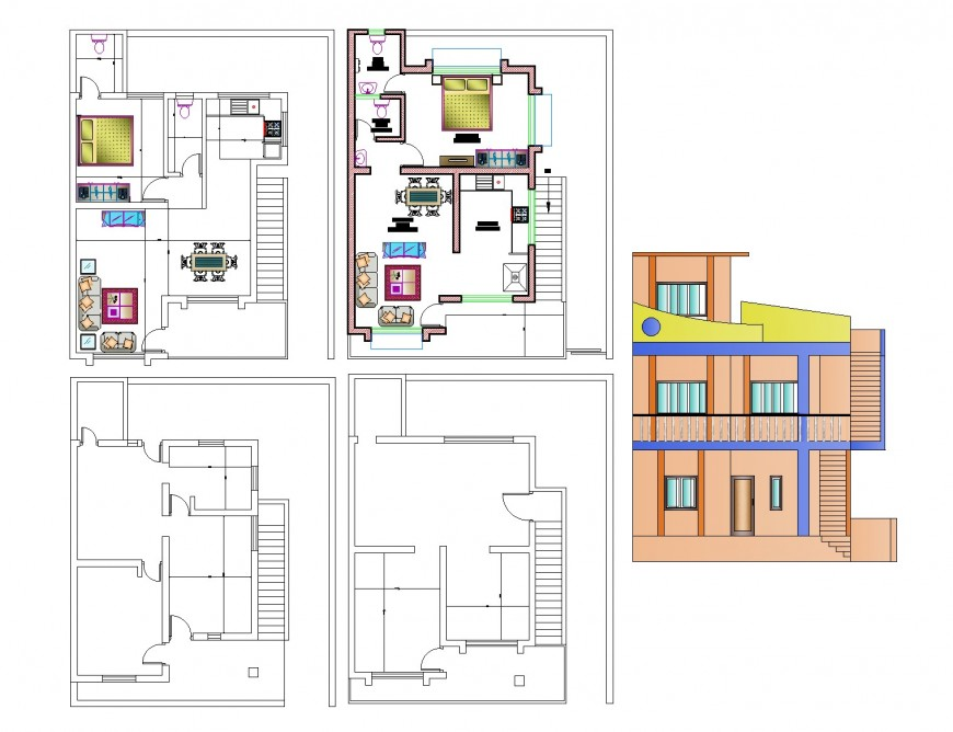 Plan and elevation housing autocad file
