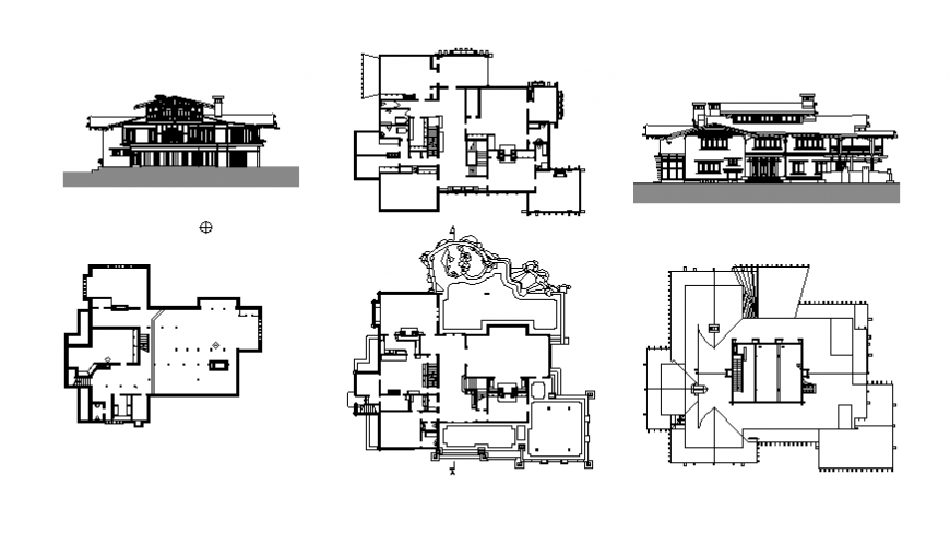 Plan and elevation housing detail dwg file