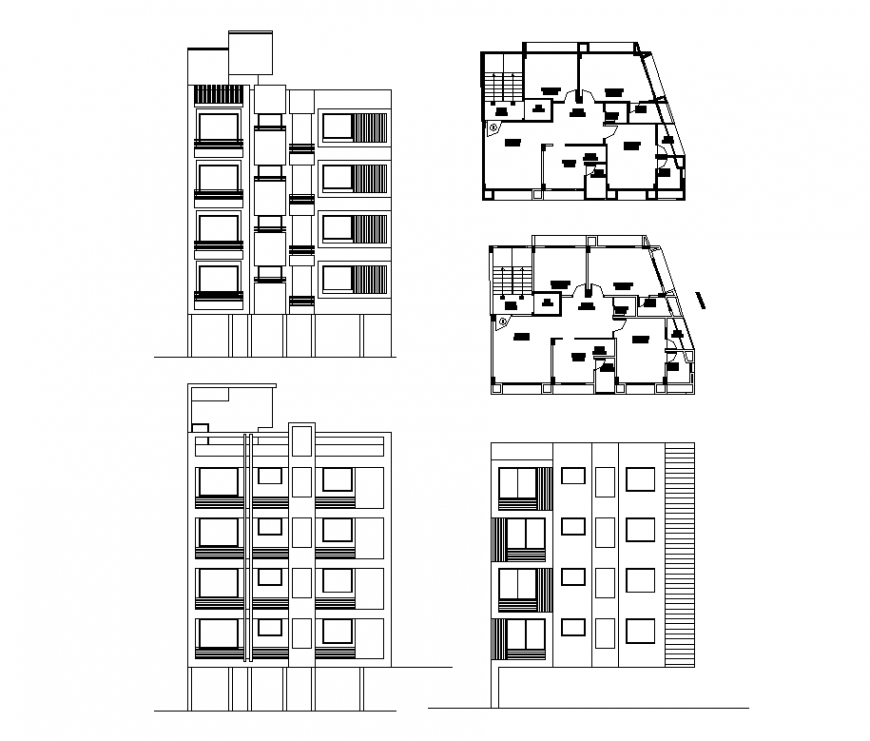 Plan and elevation of apartment design dwg file