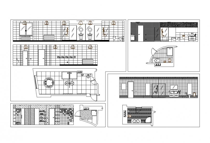 Plan and elevation of bathroom design dwg file