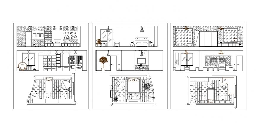 Plan and elevation of bedroom design dwg file