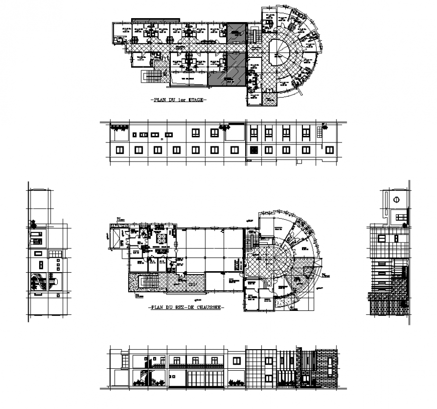 Plan and elevation of commerce building structure detail 2d view autocad file