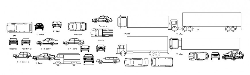Plan and elevation of different vehicle block in AutoCAD software
