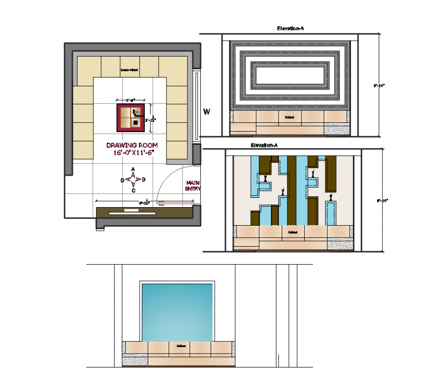 Plan and elevation of drawing room interior design dwg file