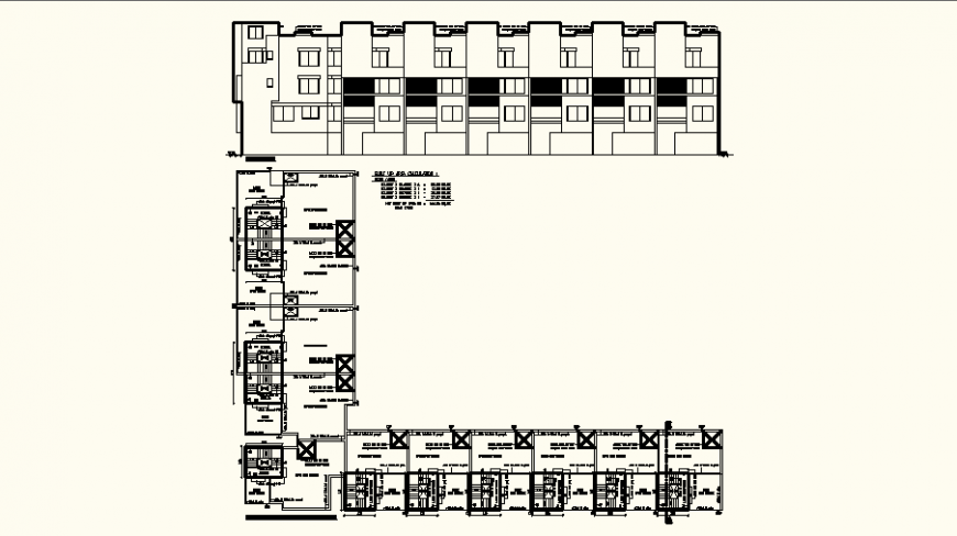 Plan and elevation of hotel area design dwg file