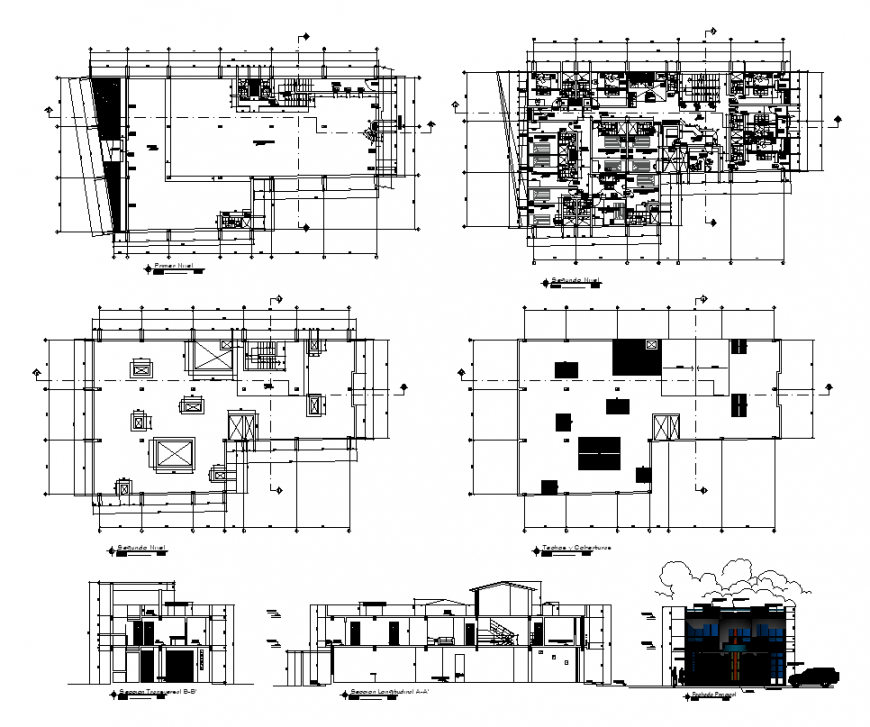Plan and elevation of hotel building structure 2d view layout file
