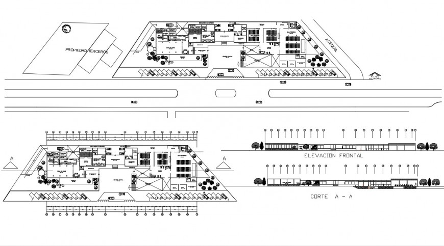 Plan and elevation of hotel in auto cad file