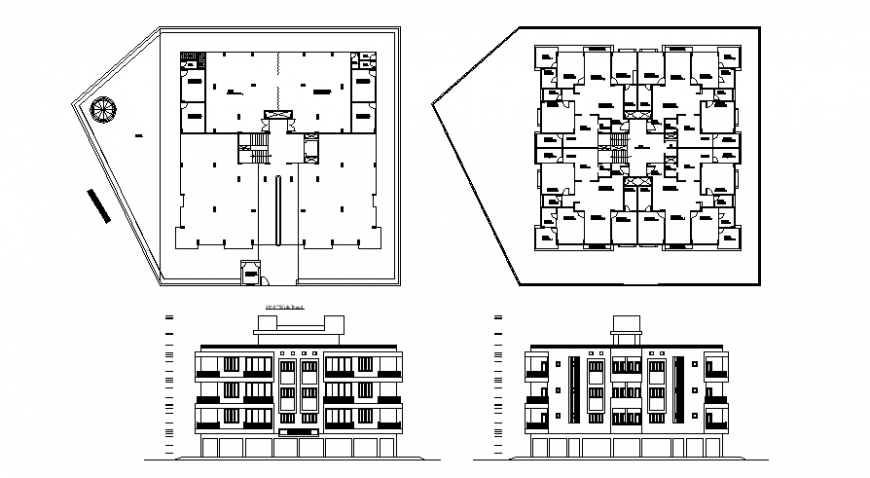 Plan and elevation of house apartment layout autocad file