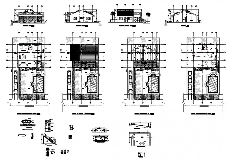 Plan and elevation of house structure CAd constructive block layout dwg file