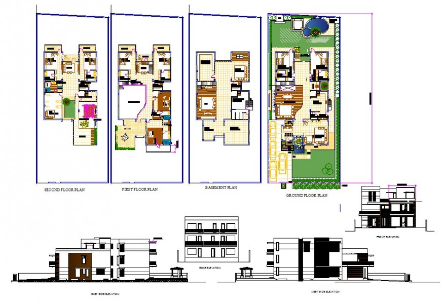 Plan and elevation of housing structure 2d view CAD block layout autocad file