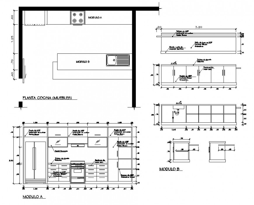 Plan and elevation of kitchen detail 2d view layout file in autocad format
