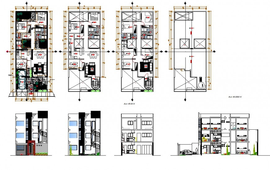 Plan and elevation of multi-level house 2d view CAD block layout file in autocad format