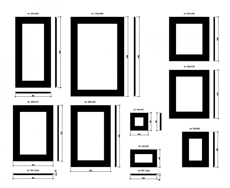 Plan and elevation of picture frame different size design dwg file
