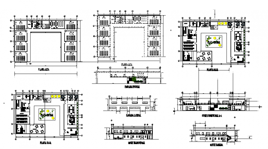 Plan and elevation of restaurant in auto cad file
