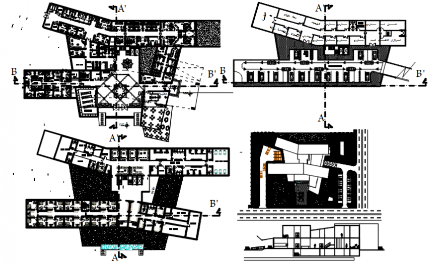 Plan and elevation of restaurant in AutoCAD file