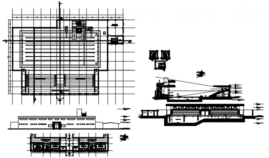 Plan and elevation of swimming pool area in auto cad file