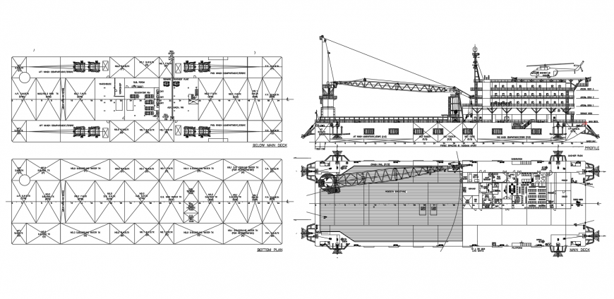 Plan and elevation of terminal building dwg file