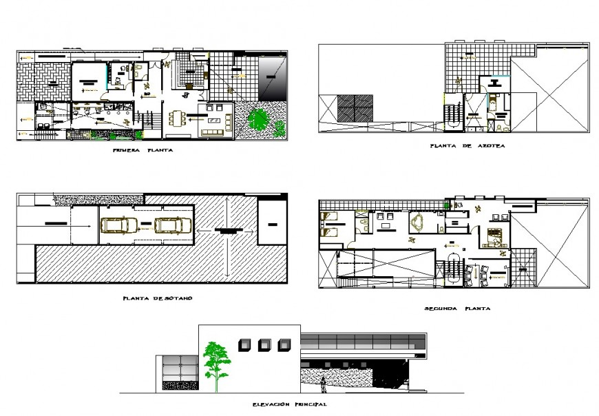 Plan and elevation office commercial building autocad file