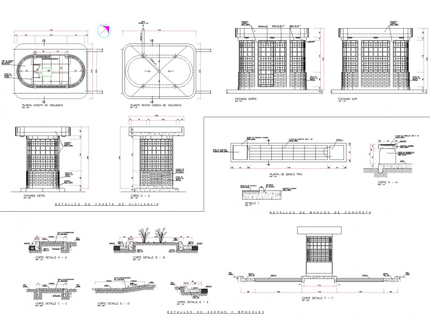 Plan and elevation round house autocad file