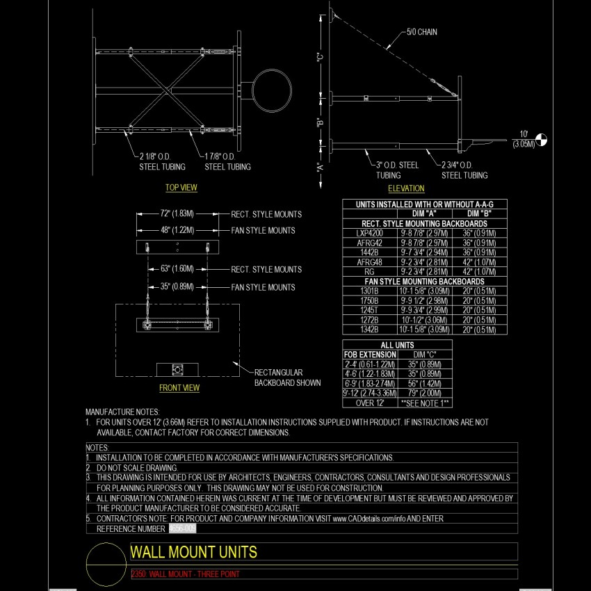 Plan and elevation Wall mount units dwg file