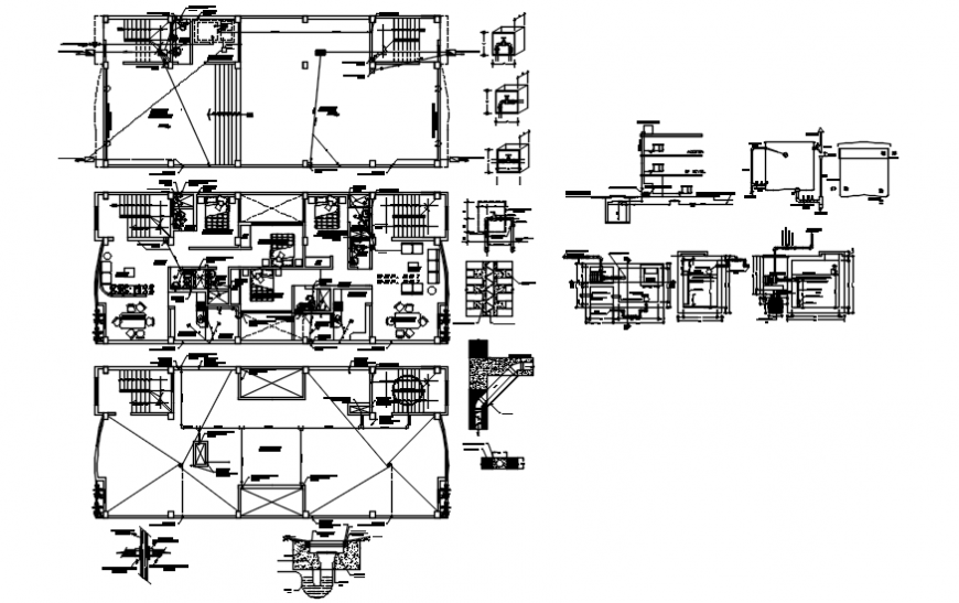 Plan and elevation with detail of hotel in AutoCAD file
