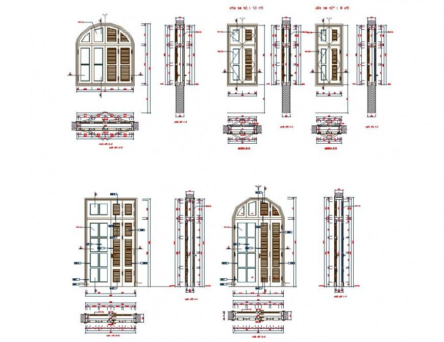 Plan and elevation wood door detail dwg file
