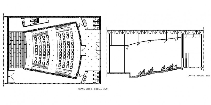 Plan and section of multiplex theater building 2d view CAD construction block layout file in autocad format