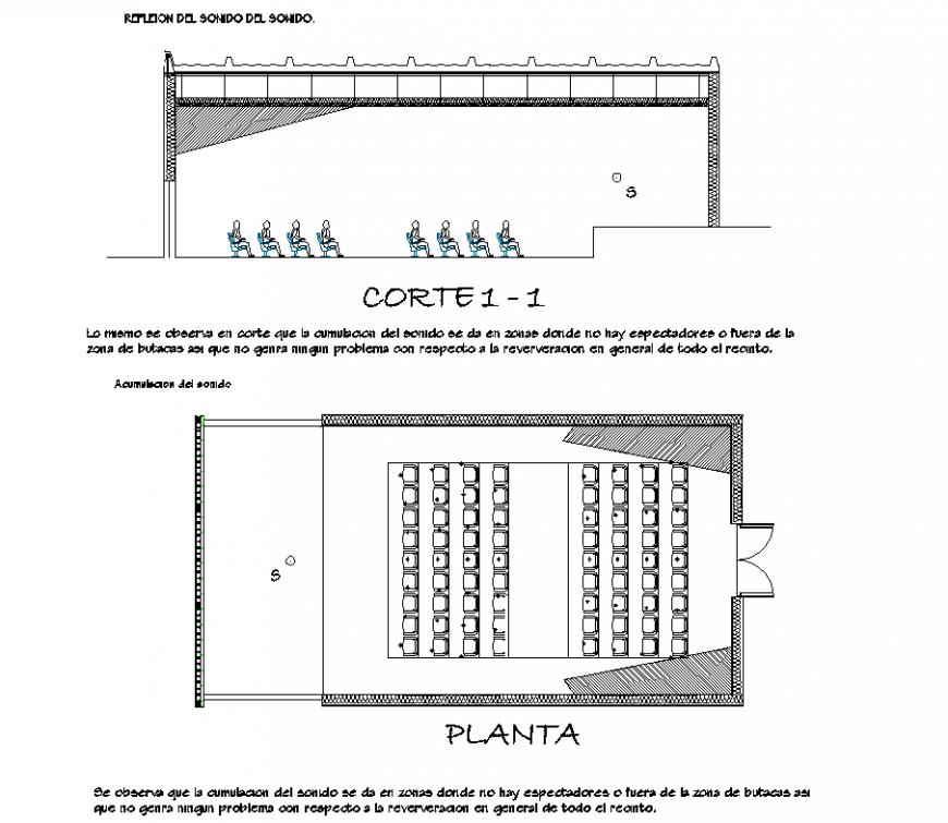 Plan and section acoustic detail dwg file