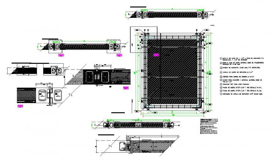 Plan and section column detail dwg file