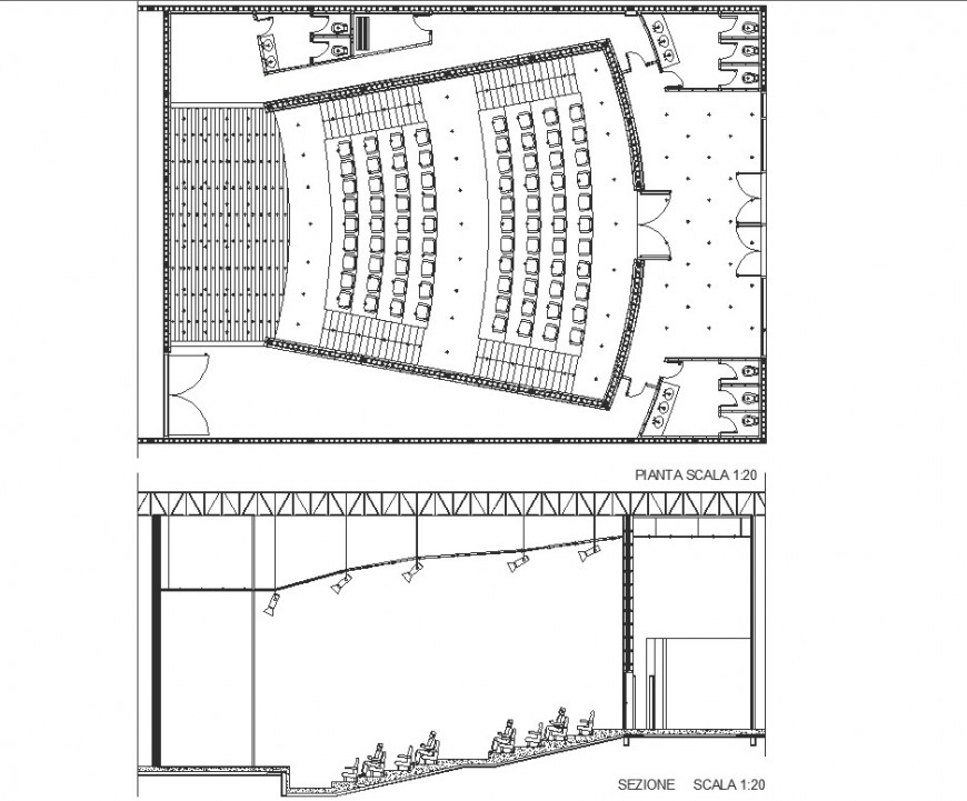 Plan and section detail auditorium autocad file