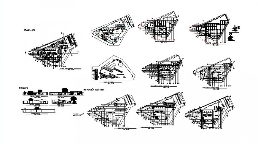 Plan and section detail of high rise building 2d view CAD structural block layout dwg file