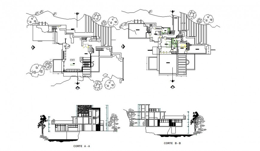 Plan and section detail of housing structure 2d view CAD construction layout autocad file