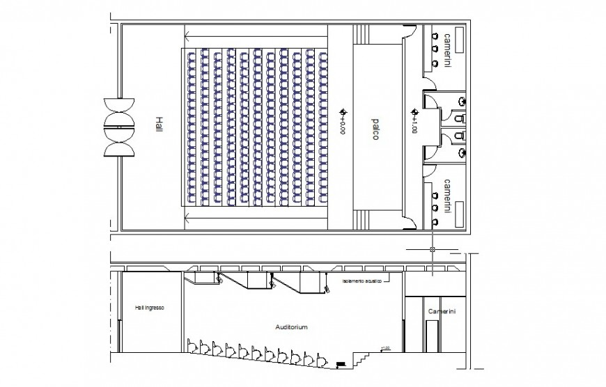 Plan and section detail of multiplex theater building block 2d view layout fie in dwg format