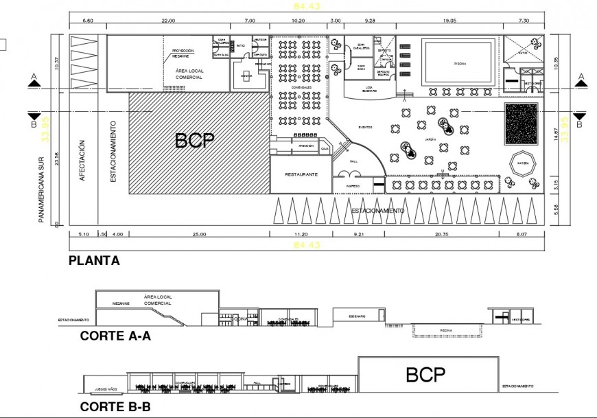 Plan and section detail restaurant layout file