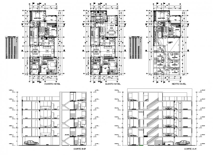 Plan and section house detail dwg file