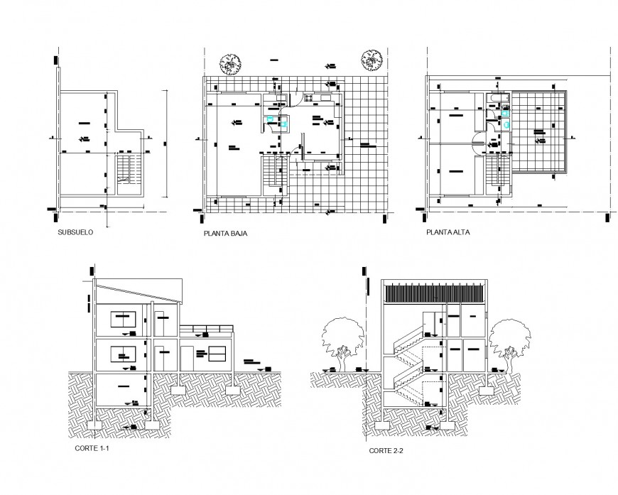 Plan and section house plan dwg file